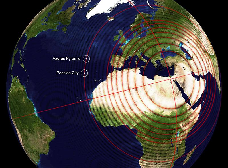 Fibonacci alignments of the Azores Pyramid & submerged city of Poseida Submerged4